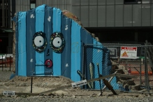 Eines von vielen originellen Grafittis in Christchurch